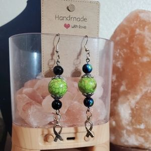 Handmade glass beaded ribbon earrings